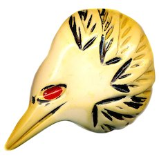 Button or Trim--Large Bizarre Carved Bakelite Bird Head