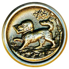 Button--Late 19th C. Brass Spaniel Delivering Love Letter