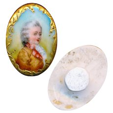 Stud--Early 20th C. Transfer Porcelain French Baroque Boy in Gold