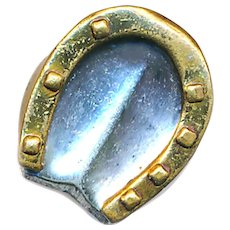 Button--Vintage Very Fine Small .0800 Silver & Brass Gucci Horse Hoof