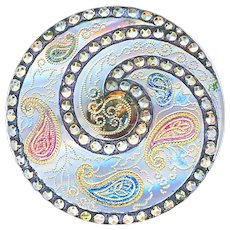 Button--Large Late 19th C. Clear Lacy Glass with Color Luster