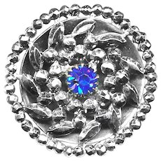 Button--Exquisite Mid-19th C. Cut Steels with Cobalt Blue Jewel--Medium
