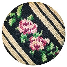 Button--Extra Large Vintage Gobelin Needlework Roses on Ivory & Black