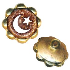 Button--Mid-19th C. Aventurine Glass Inlay Crescent Moon & Star Waistcoat Jewel