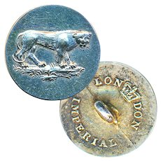Button--19th C. Silvered Brass Sporting Panther--Medium