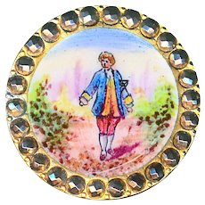 Button--Very Fine 19th C. Emaux Peints Enamel Male Figure with Bright Cut Steel Border
