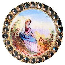 Button--Very Fine 19th C. Emaux Peints Enamel Lady in Pastoral Scene in Bright Cut Steel Border