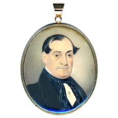 Pendant--19th C. Portrait of Gentleman Under Glass with Hair Compartment