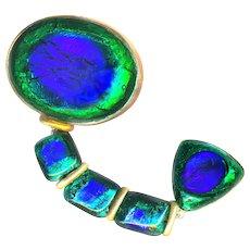 Brooch--Large Early 20th C. Austria Peacock Eye Glass Jewel Dangler