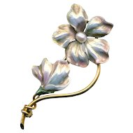 Brooch--Early 20th C. Pale Pinkish Opalescent Enamel on 14 Karat Gold Flowers by Carl-Art