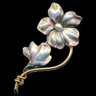 Brooch--Early 20th C. Pale Pinkish Opalescent Enamel on 14 Karat Gold Flowers by Carl-Art