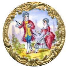Button--19th C. Emaux Peints Enamel Rococo Border Gentleman and Lady--Paris