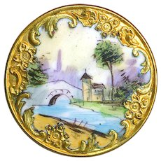 Button--Large Emaux Peints Rustic Scene Bridge & Buildings in Rococo Reserve