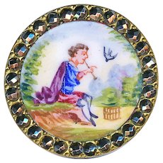 Button--19th C. Emaux Peints Enamel Boy Piping Bird Into Cage