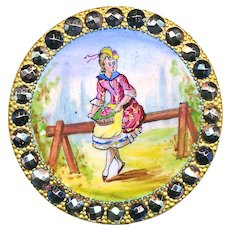 Button--Large 19th C. Emaux Peints Enamel Country Girl with Basket in Patinated Cut Steels