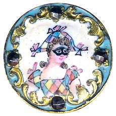 Button--Scarce 19th C. Emaux Peints Enamel Harlequin Lady in Mask--Medium