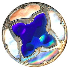 Button--Very Fine 19th C. Cut Polished Cobalt Glass in Pearl and Engraved Brass