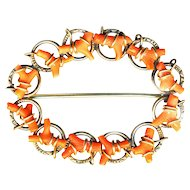 Brooch--Large Early 20th C. Oval  Red-orange Coral Little Branches in Gold-plated 0.800 Silver