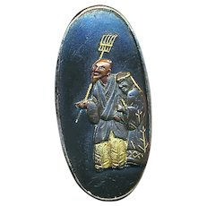 Button--19th C. Japanese Mixed Metal Shakudo Figures Old Man and Woman