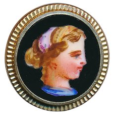 Button--19th C. Hand Painted Porcelain Head of Young Girl in Gold-plated Brass