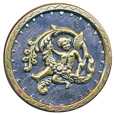 Button--Large 19th C. Wood and Engraved Brass Cherub Garland