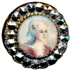 Button--Late 19th C. Painted Portrait Under Glass with Glass Marcasite Border