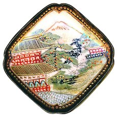 Button--Large Square Late 19th C. Japanese Satsuma Pagoda Scene in White Metal