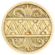 Button--Huge Pressed Hard Ivoroid-Celluloid Regency Design