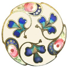 Button--Late 19th C. Matte Champleve Enamel Trefoil Clovers or Shamrocks