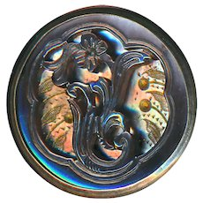 Button--Late 19th C. Hand Carved Iridescent Compound Pearl in Metal--Medium