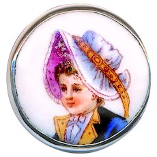 Button--Late 19th C. Transfer Porcelain Young Girl In Bonnet in Silver--Medium