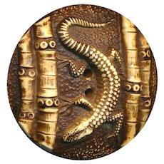 Button--Extra Large Vintage Hard Celluloid Bamboo Salamander