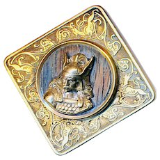 Button--Large Late 19th C. Paris Back Square Wodin on Wood Panther Border