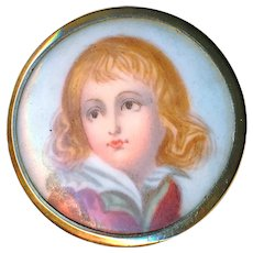 Button--19th C. Hand Painted Porcelain Blonde Haired Boy in 9 Karat Gold