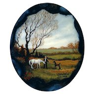 Pendant--Hand Painted Miniature Horse Pasture Scene on Agate Slab