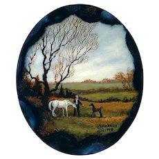 Pendant--Hand Painted Miniature Horse Pasture Scene on Agate Slab