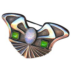 Brooch--Early 20th C. Jugendstil 0.800 Silver and Glass