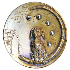 Button--Large Late 19th C. Engraved Brass Poodle with Kennel & Steels