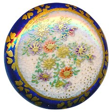 Button--Late 19th C. Satsuma Pottery Flowers on Cobalt Body