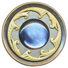 Button--Large 19th C. Brass and Inset Pearl with Inner Border