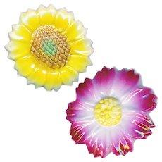 Buttons--2 Vintage Kutani Porcelain Realistic Flowers--Medium