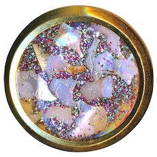 Button--Large Late 19th C. Iridescent Pearl Chips Under Glass in Brass