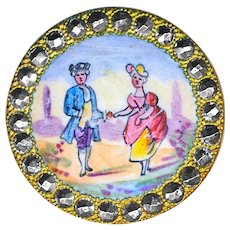 Button--Antique Emaux Peints Enamel Man and Lady--Not Fops--Cut Steel Border