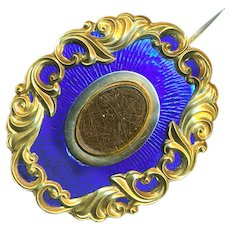 Brooch--Mid-19th C. Cobalt Blue Enamel Mourning Hair in Gold-plate