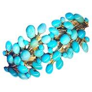 Bracelet--Vintage Swoboda Natural Turquoise Hinged Bangle