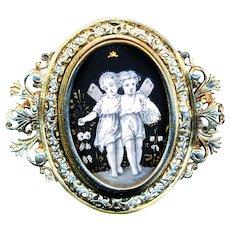 Brooch--Large Mid-19th C. Parcel-gilt En Grisaille Enamel Fairies