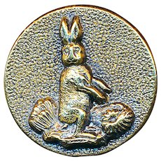 Button--Late 19th C. Brass Bunny in Cabbage Patch