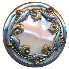 Button--Large 19th C. Paris Back Pearl in Parcel-gilt White Metal
