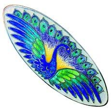 Brooch--Early 20th C. Watson Enamel Peacock on Sterling Silver