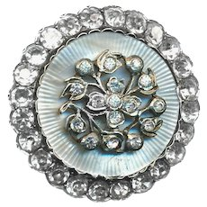 Button--Early 19th C. Regency Style Mother of Pearl and Paste in Scallop Edge Fine Silver